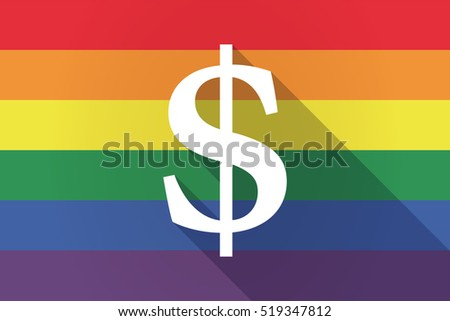 Illustration of a long shadow lgbt gay pride flag with a dollar sign