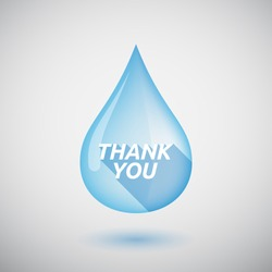 Illustration of a long shadow  water drop with    the text THANK YOU