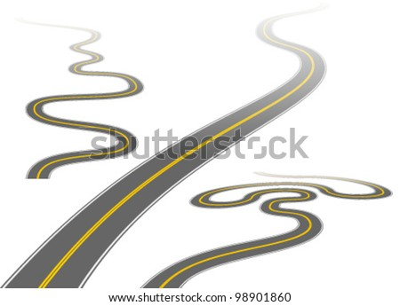 Illustration of a long, winding roads disappearing into the distance.