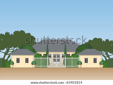 Illustration of a luxurious private residence or real estate