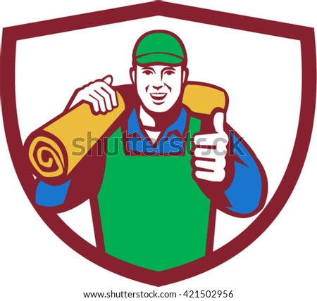 carpet roll clipart. illustration of a male carpet layer smiling with thumbs up and carrying roll mat clipart h