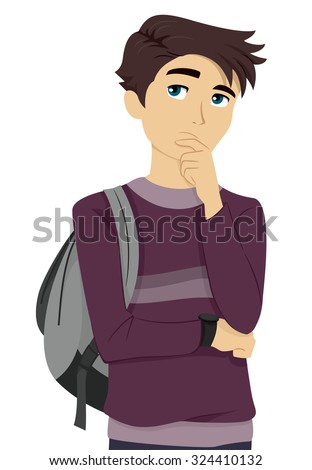 Illustration of a Male Teenage Student Thinking to Himself