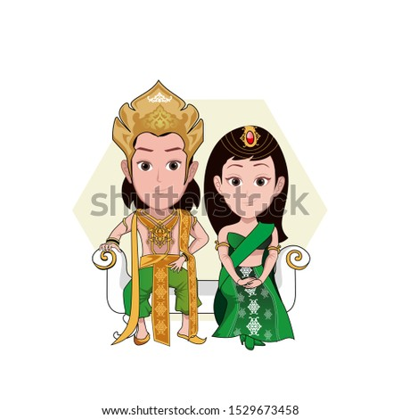 illustration of a man and woman in a royal costume of India studded with gold and impressed luxurious and colossal. Vector cartoons that can be used for caricature or mascot.