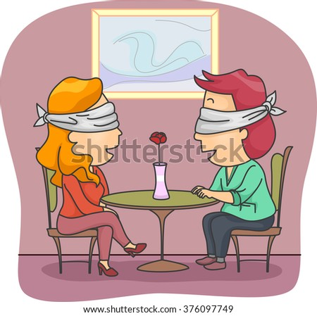 Stock Photo Illustration of a Man and Woman Set Up on a Blind Date