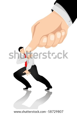 Illustration of a man being pressed with a giant thumb