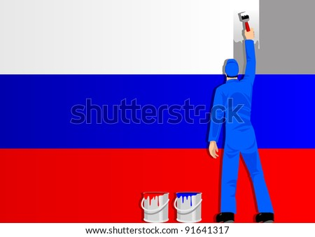 Illustration of a man figure painting the flag of Russia