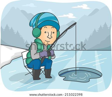 illustration of a man fishing