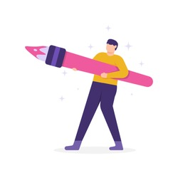 illustration of a man holding a brush. the concepts of employees are creative and innovative, full of ideas, good and smart. flat design. can be used for elements, banners, landing pages, UI.