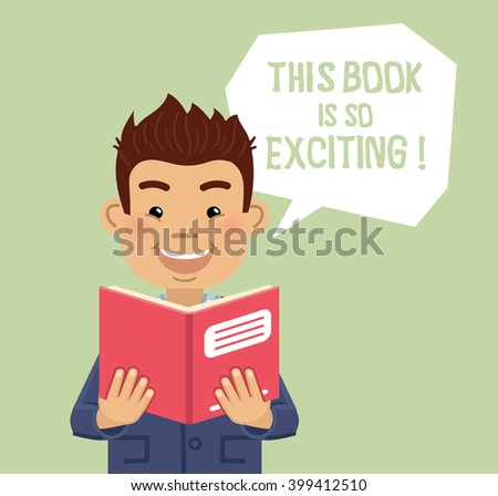 Illustration of a man reading a book. Cheerful businessman smiling and holding a book, journal or magazine. Simple style vector illustration