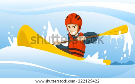 Illustration of a man riding a kayak.