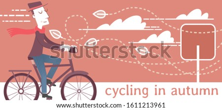 Illustration of a man taking a bike ride on a windy autumn day. Illustration of a man taking a bike ride on a windy autumn day.