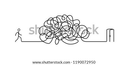 Illustration of a man walking through a labyrinth to the exit. Vector. The labyrinth is like a brain. Metaphor. Linear style. Illustration for a website or presentation. Search and exit.