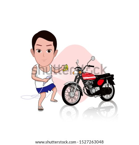 illustration of a man washing his favorite classic motorcycle by spraying water. Vector cartoons that can be used for caricature or mascot templates with plain backgrounds.