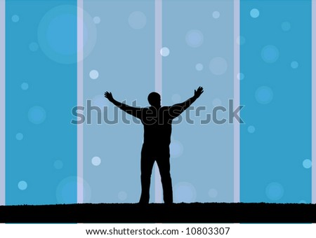 illustration of a man with open arms - stock vector