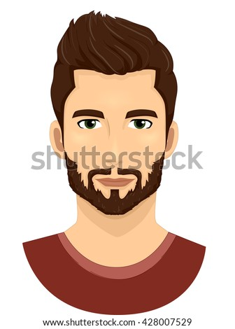 Illustration of a Man with Well Groomed Beard and Moustache