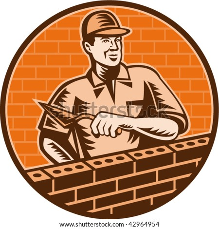 illustration of a Mason worker or bricklayer holding a trowel working on brick wall done in woodcut style.