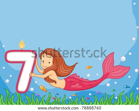 Illustration of a Mermaid Looking at a Birthday Candle