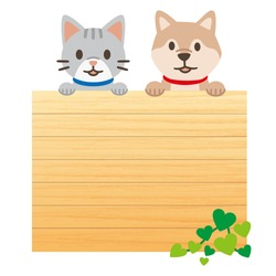 Illustration of a message board with pets on a white background