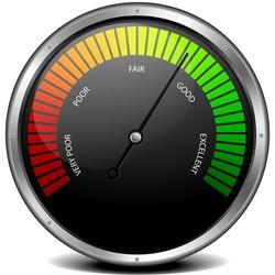 illustration of a metal framed customer satisfaction meter, eps10