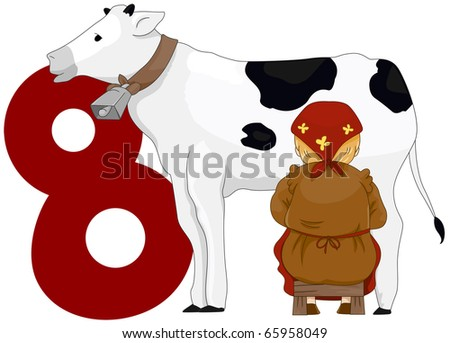 Illustration of a Milkmaid Milking a Cow Beside a Number Eight - stock vector