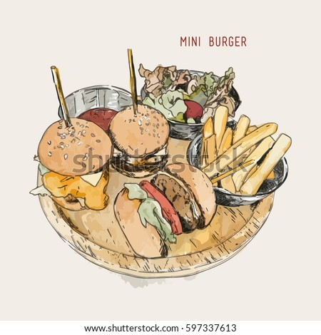illustration of a mini burger