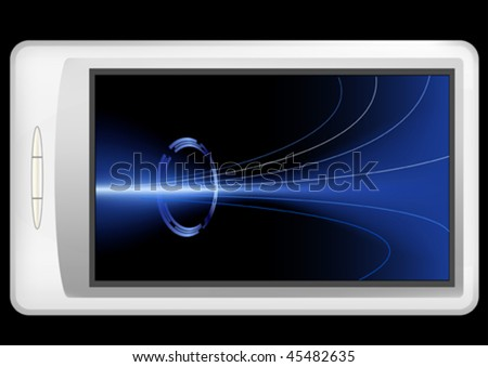 Illustration of a mobile device with a conceptual background on its screen.