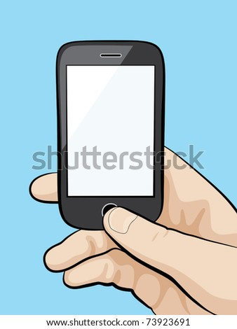 Illustration of a mobile phone in the male hand closeup. - stock vector