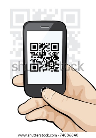 Illustration of a mobile phone in the male hand scanning qr code.