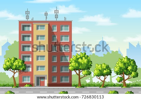 Illustration of a modern family house with trees