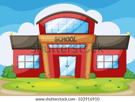 illustration of a modern school