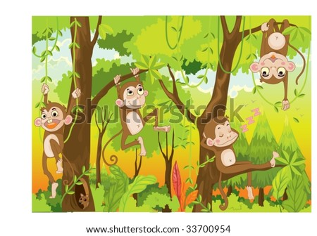 illustration of  a monkey in a