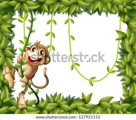 stock-vector-illustration-of-a-monkey-in-a-leafy-frame
