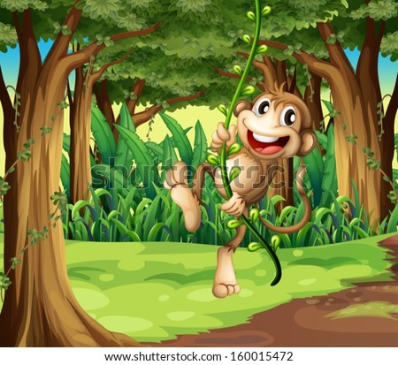 Illustration of a monkey playing with the vine trees in the middle of the forest