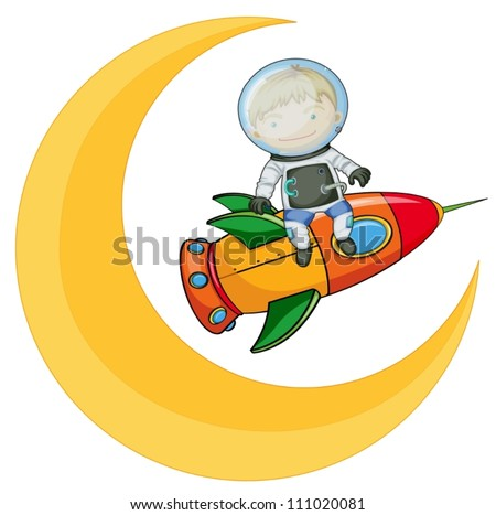 illustration of a moon and boy on rocket