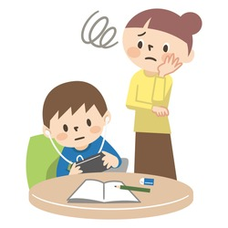 Illustration of a mother who is surprised by a child who plays games without doing homework