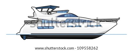 illustration of a motor yacht. Simple gradients only - no gradient mesh.
