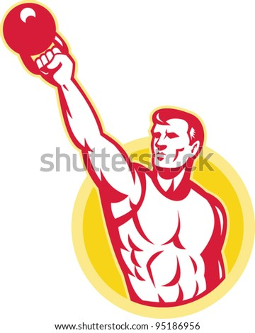 Illustration of a muscle male exercising using kettlebell on isolated background.