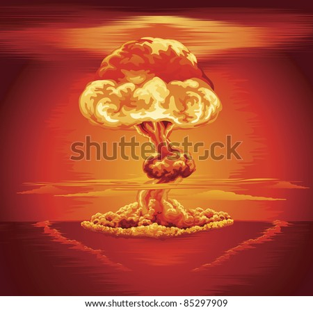 Illustration of a mushroom cloud following a nuclear explosion