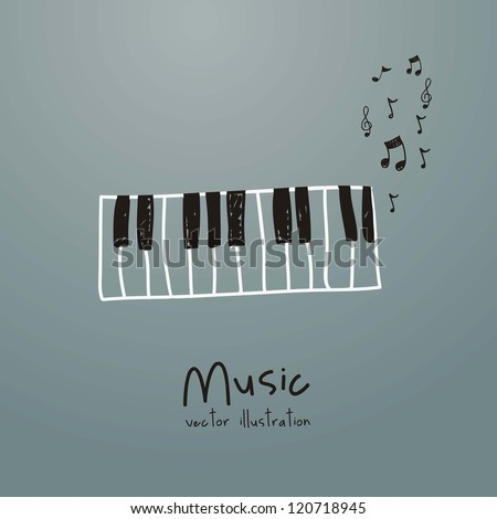 Illustration of a music icon, with  piano and musical notes, vector illustration
