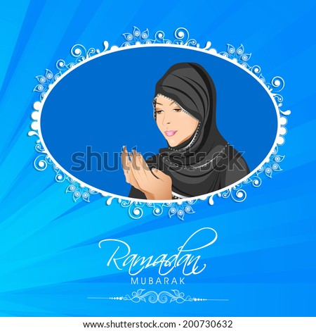 Illustration of a Muslim girl in traditional clothes praying on shiny blue background for holy month of Muslim community Ramadan Kareem.