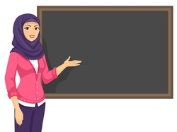 Illustration of a Muslim Girl Teacher Presenting Her Lesson in the Blackboard