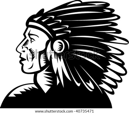 illustration of a native american indian chief with headdress