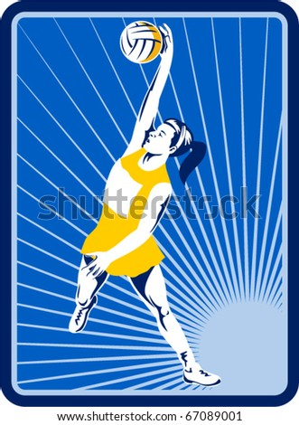 illustration of a netball player catching or passing ball with sunburst in the background set inside rectangle