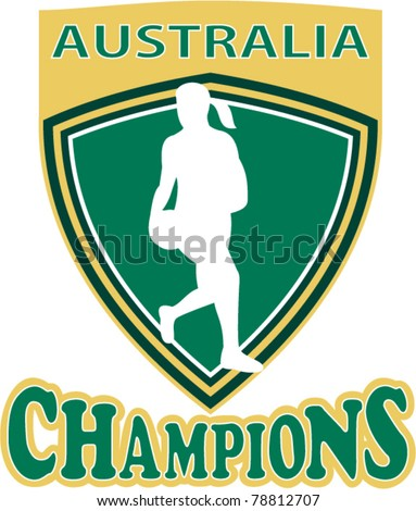 illustration of a netball player with ball set inside shield with word Australia Champions