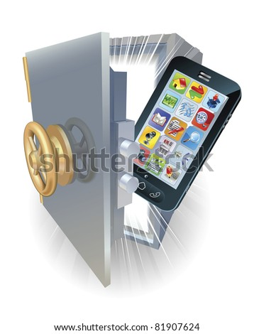 Illustration of a new mobile phone protected in a safe.
