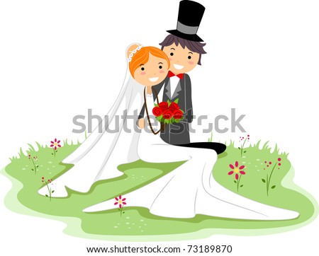 Illustration of a Newlywed Couple Sitting on the Grass