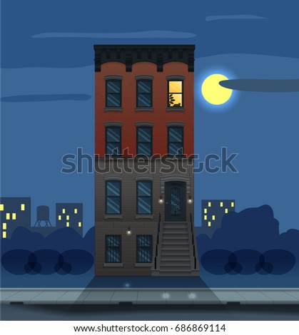 Illustration of a night city landscape with townhouse. Flat art style. New York Brooklyn architecture. Housing, real estate market, architecture design, property investment concept banner.