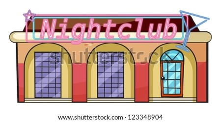 Illustration of a nightclub on a white  background