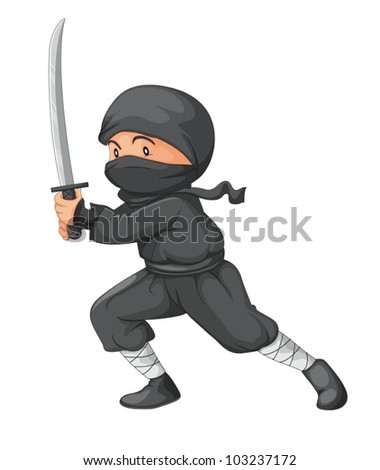 Illustration of a ninja with sword