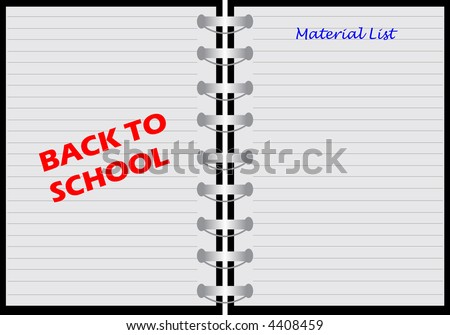 illustration of a notebook with material list